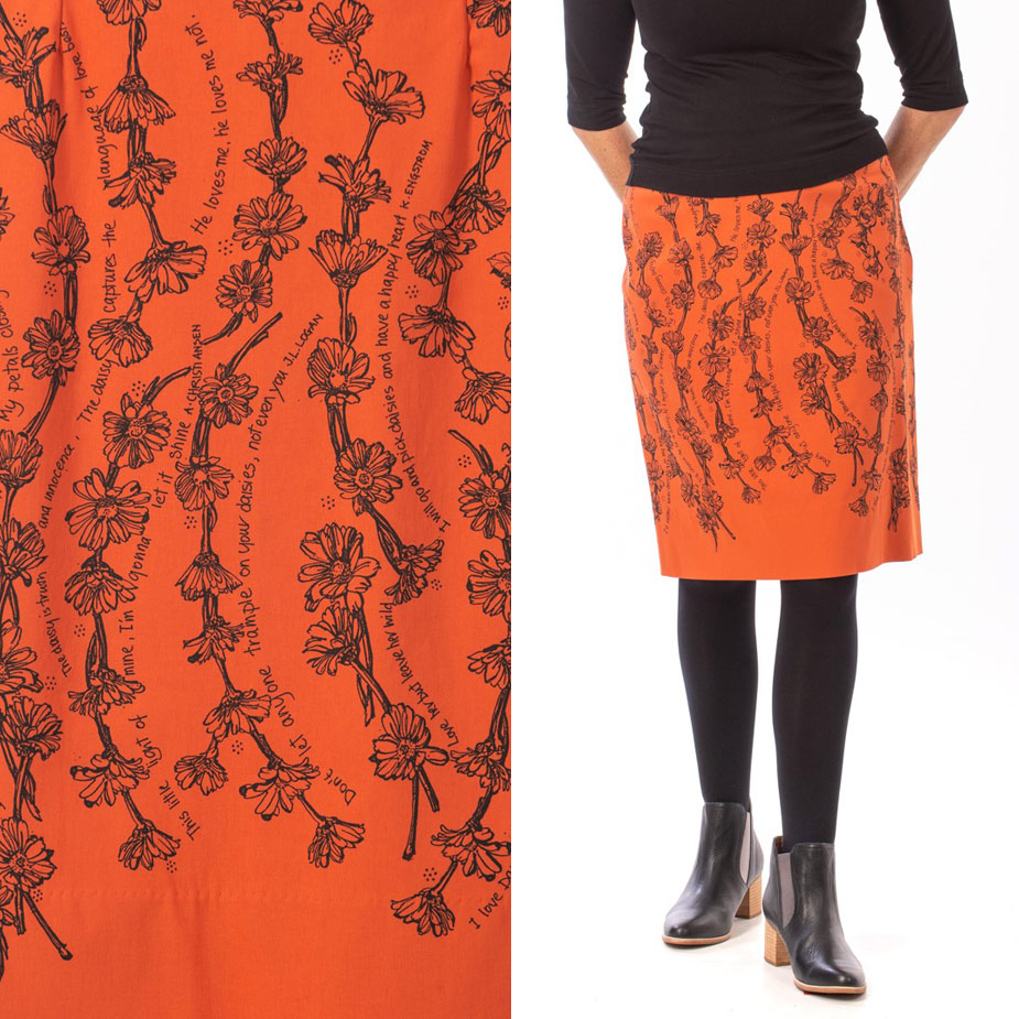 model Daisy Chain Burnt Orange skirt