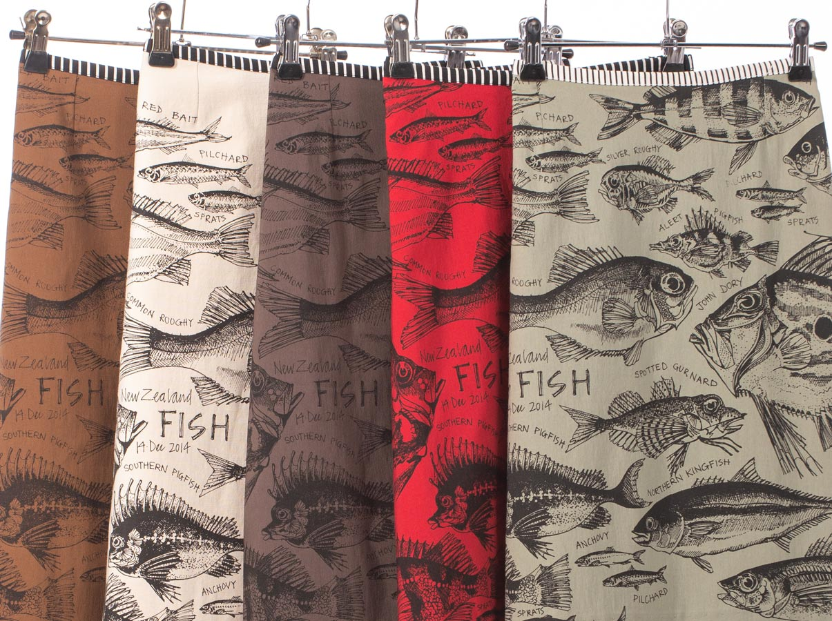 New Zealand Fish design skirt swatches