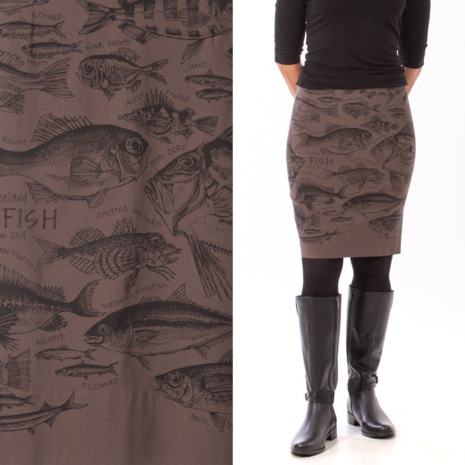model New Zealand Fish grey skirt