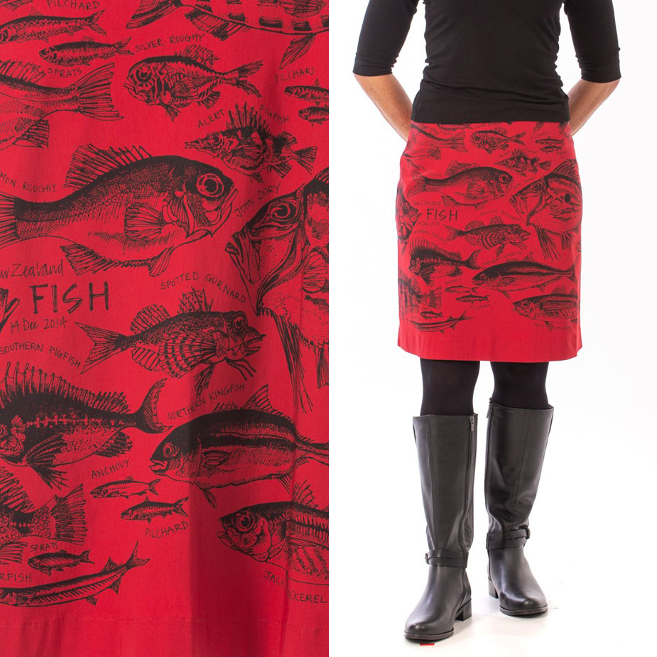 model New Zealand Fish red skirt
