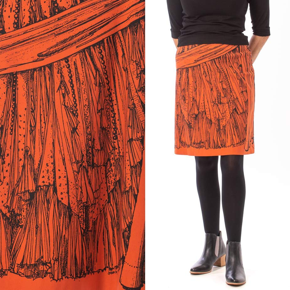 model Frills and Flounces burnt orange skirt