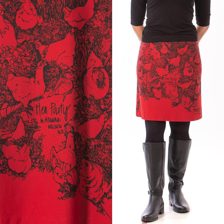 model red hen party skirt