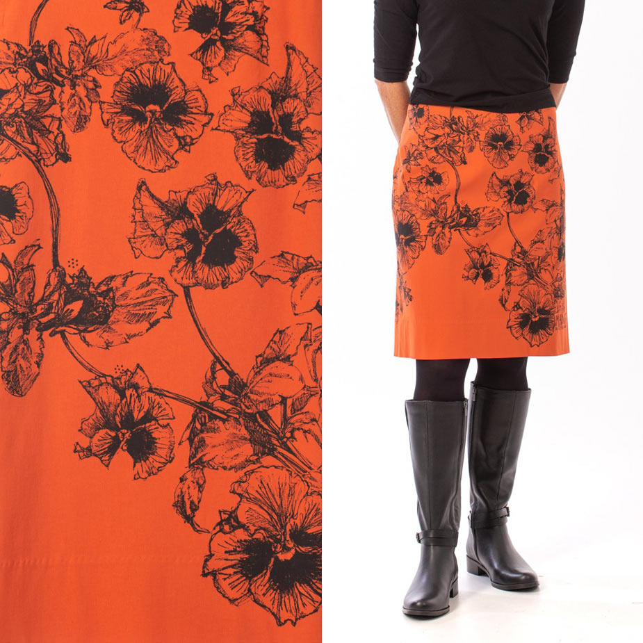 model pansy burnt orange skirt