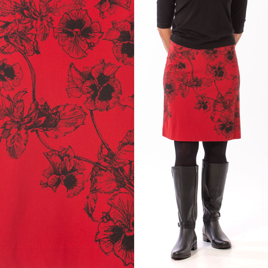 model pansy red skirt
