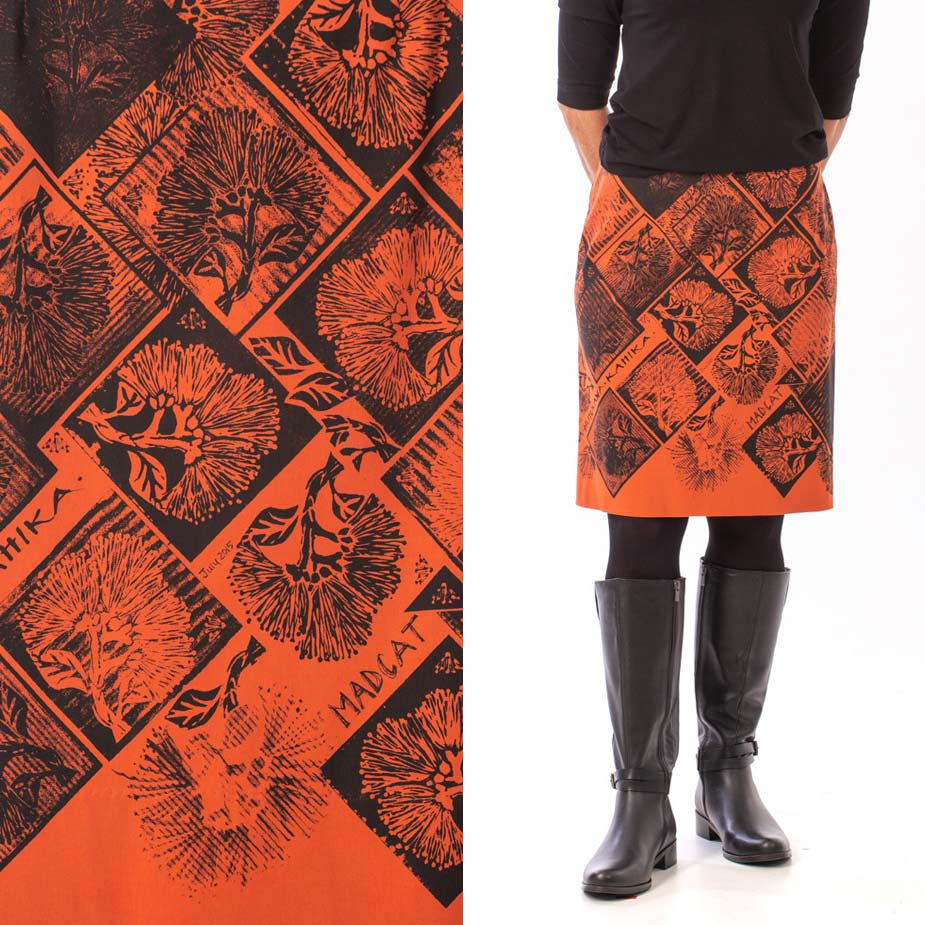 model pohutukawa burnt orange skirt