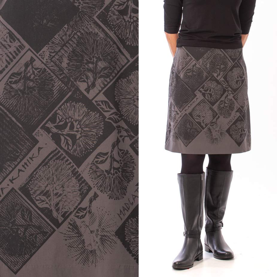 model pohutukawa grey skirt