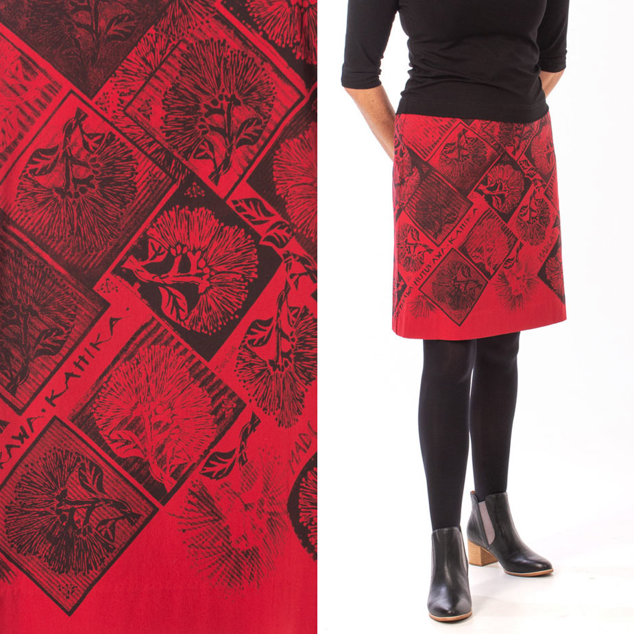 model pohutukawa red skirt