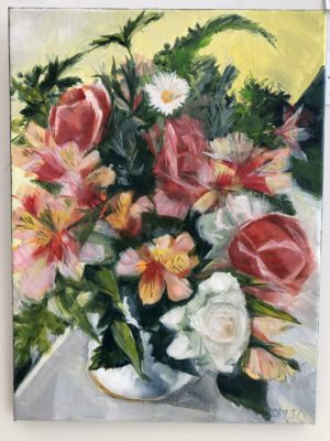 Alstroemeria And Roses In A Jug