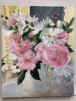 Pink Peonies And Roses In Jug