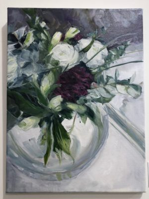 Purple Carnation And White Lisianthus In Glass Bowl