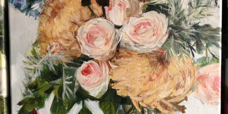 Rusty Crysanths And Pink Roses, Oil Paint On Canvas