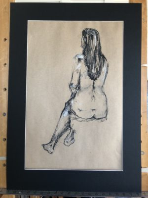 Seated Woman, Back View In Charcoal