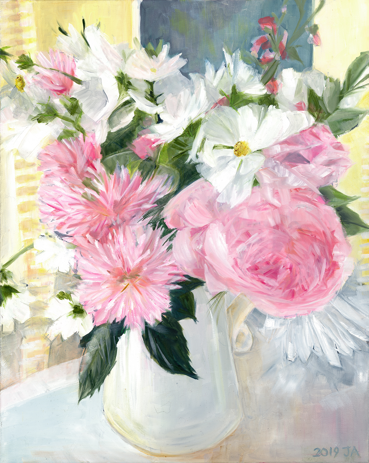 White Cosmos with pink Daliahs and Roses as an A3 Giclee print.