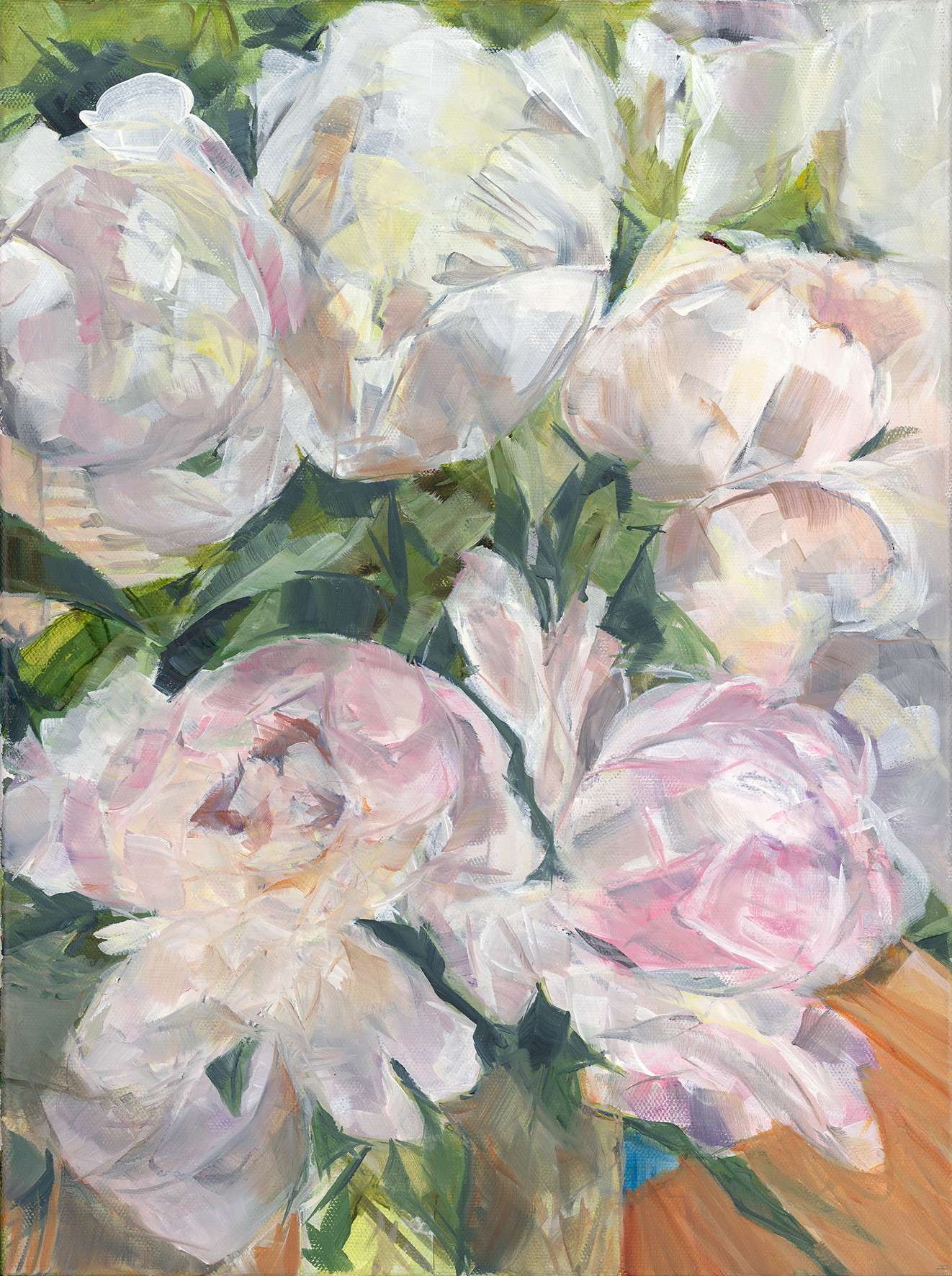 Hint of pink peonies as an A3 Giclee print.