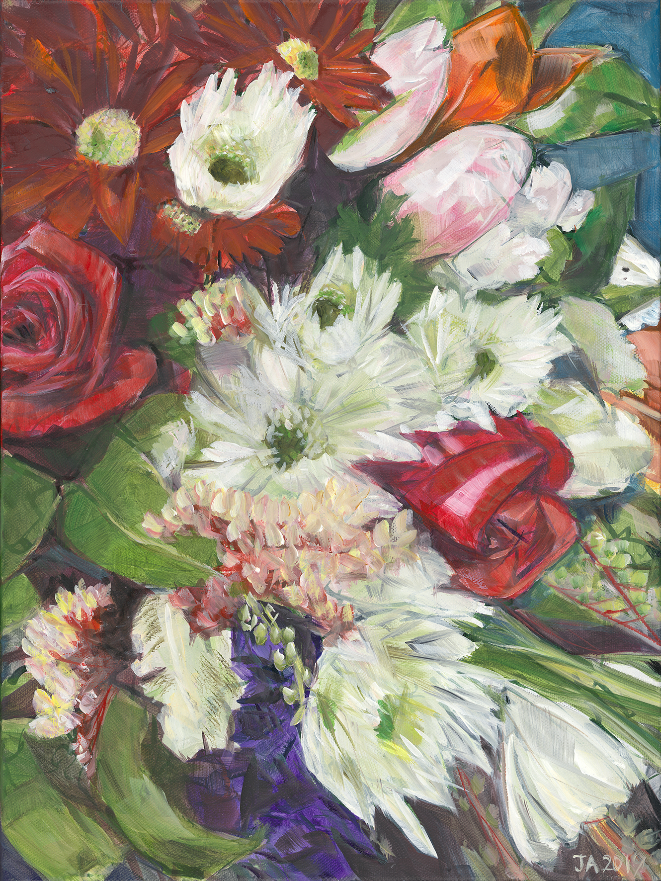 Red and White Bouquet as an A3 Giclee print