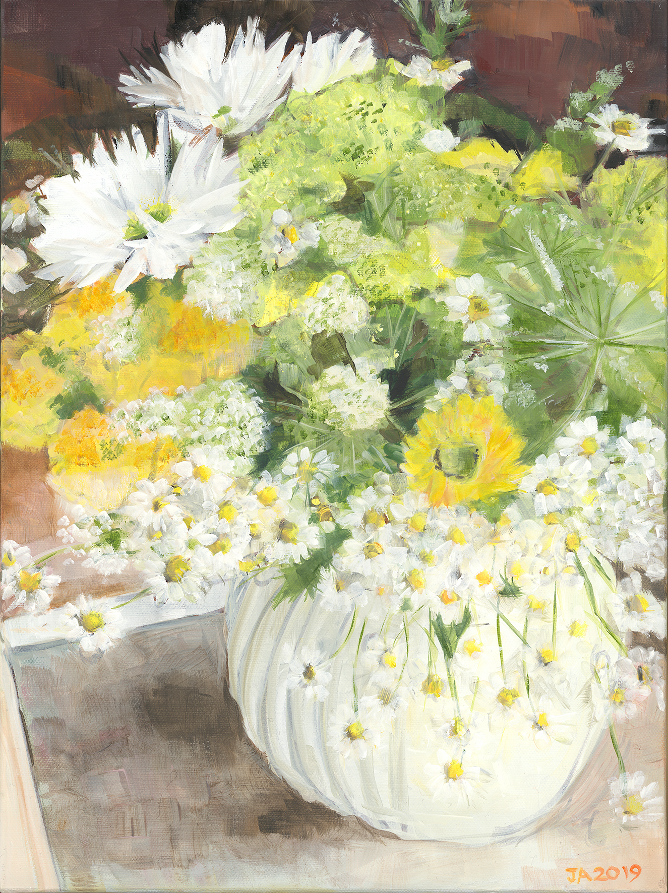 Yellow and White Daisy Flowers as an A3 Giclee print