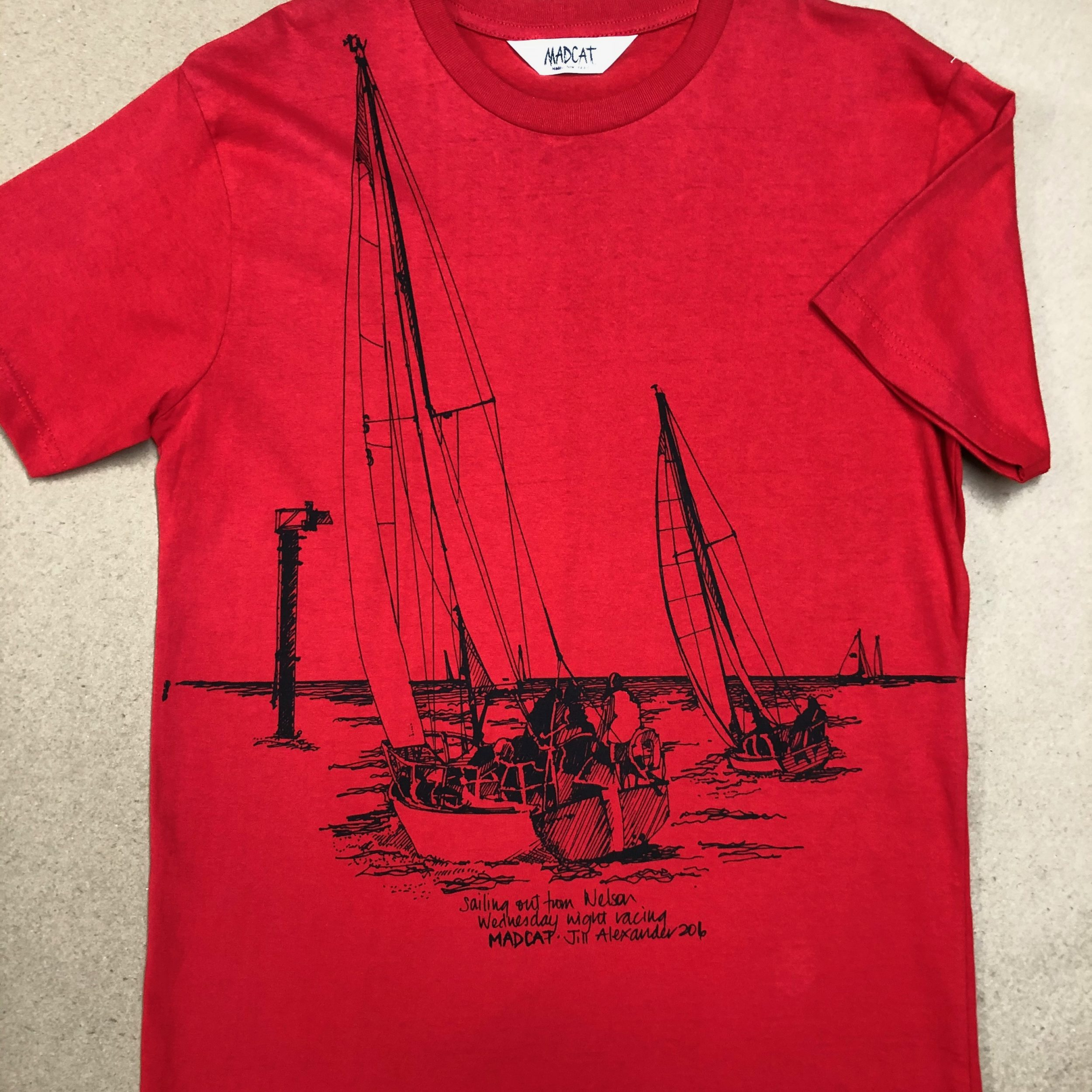 Sailing boat T shirt printed in red size small.
