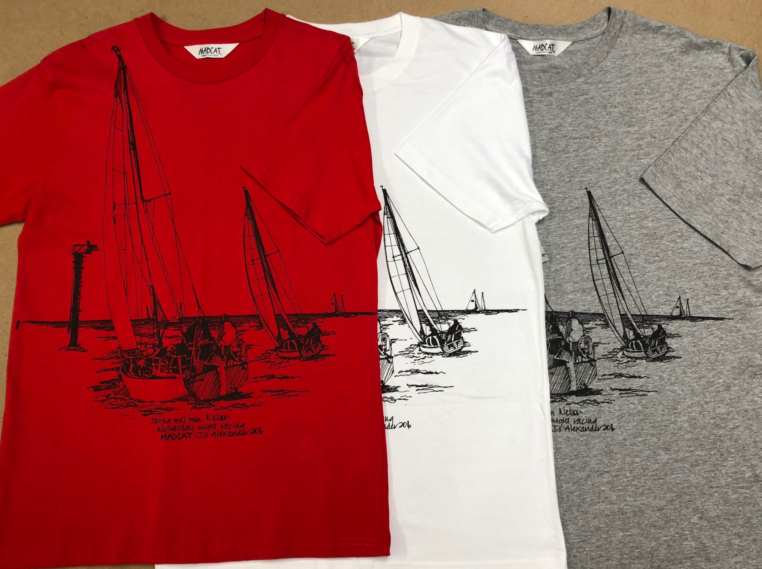 Sailing boat T shirt in red, white and grey marl.