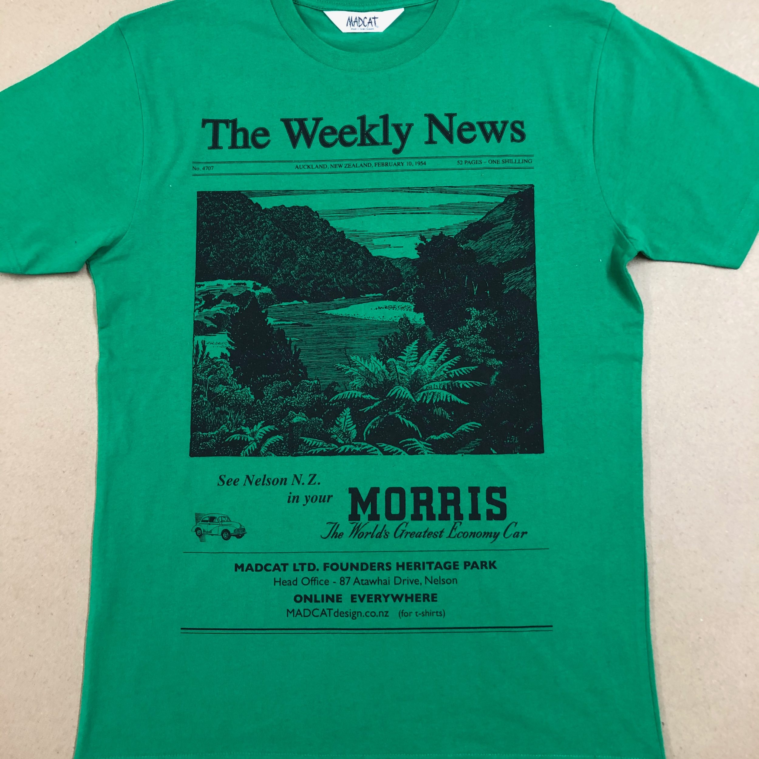 The Weekly News T shirt for Men, Green