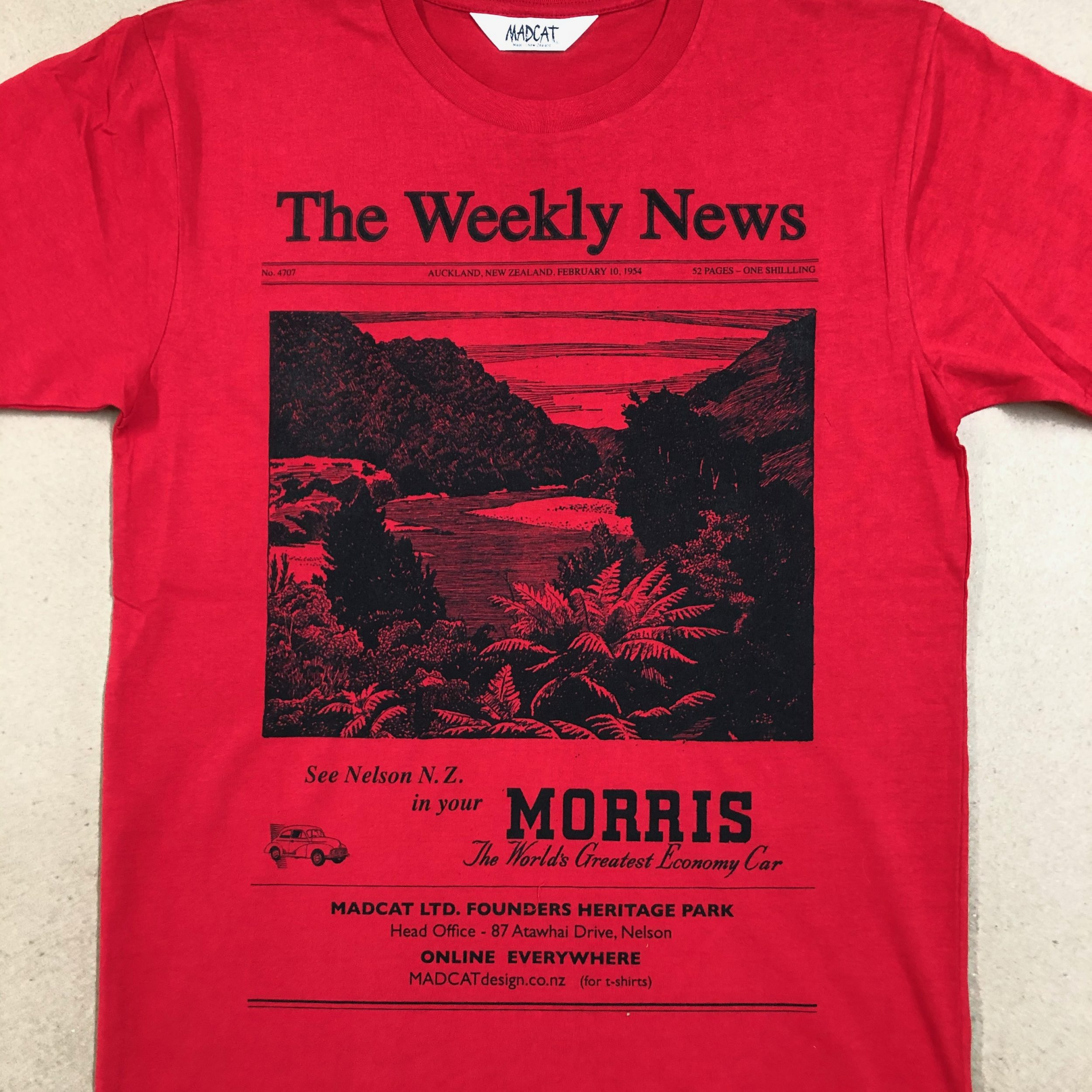 The Weekly News T shirt for Men, Red