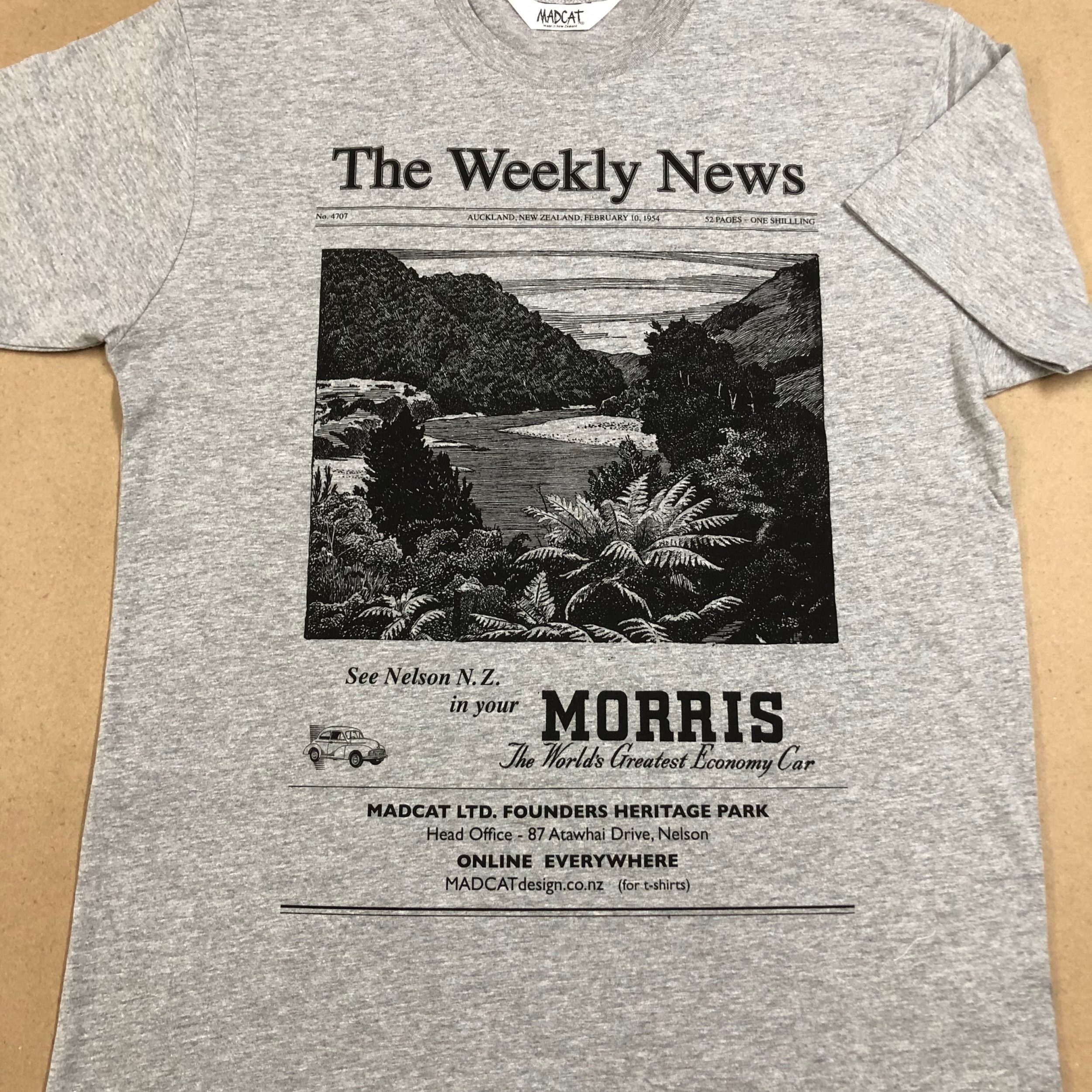 The Weekly News T shirt for Men, Grey Marl